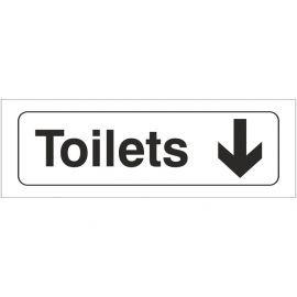 Toilets Arrow Down Door Sign