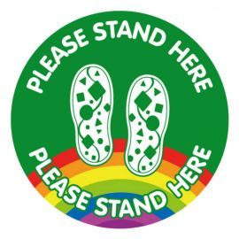 Please Stand Here School Floor Graphic Sign