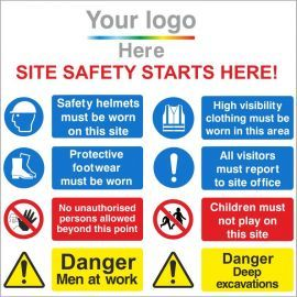 Site Safety Starts Here 1200W X 1200Hmm Aluminium Composite Sign with Your Logo