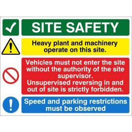 Site Entrance Sign - Site Safety (Plant + Vehicles)