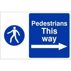 Pedestrians This Way Arrow Right Custom Logo Sign