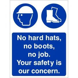 No Hard Hats, No Boots, No Job. Your Safety Is Our Concern Sign