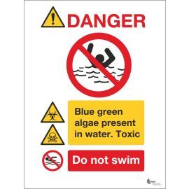 Danger Blue Green Algae Present In Water, Do Not Swim Sign Available In A Range Of Sizes And Materials With Or Without Your Logo