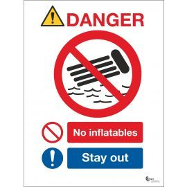Danger No Inflatables Sign - Stay Out
