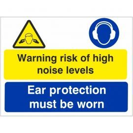 Warning risk of high noise levels ear protection sign