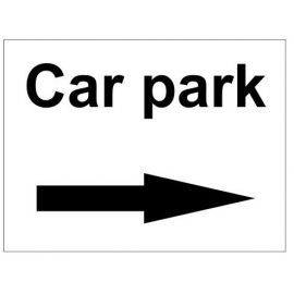Car park right arrow sign in a variety of sizes and materials