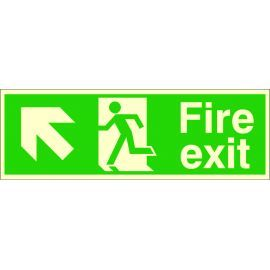 Fire Exit Arrow Up Left Glow In Dark Sign