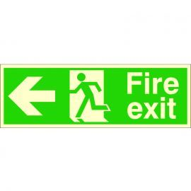 Fire Exit Arrow Left Glow In Dark Sign