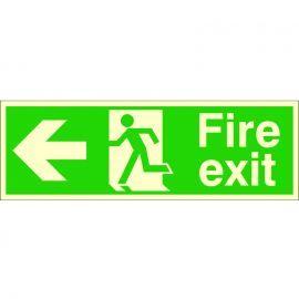 Fire Exit Arrow Left Glow In Dark Sign