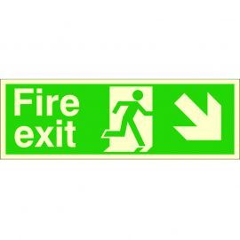 Glow In The Dark Fire Exit Arrow Down Right Sign