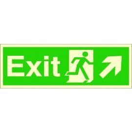 Photoluminescent Exit Arrow Up Right Sign