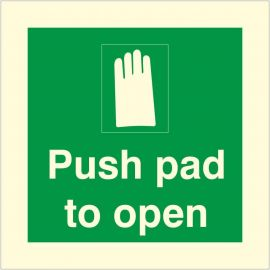 Photoluminescent Push Pad To Open Sign
