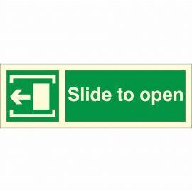 Slide To Open 'Left' Glow In Dark Sign