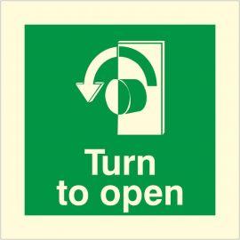 Glow In The Dark Turn To Open Anti Clockwise Door Sign