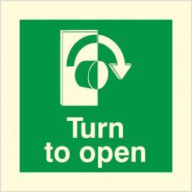 Glow In The Dark Turn To Open Clockwise Door Sign
