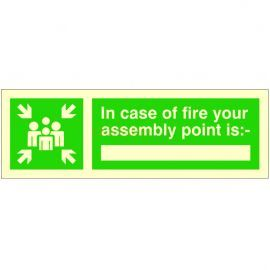 """Photo-luminescent Assembly Point """"In Case of Fire"""" Sign"""