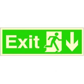 Exit Arrow Down Glow In Dark Sign