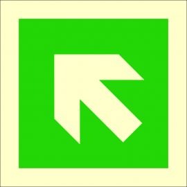 Photoluminescent 'Arrow Up/Left' Self Adhesive Symbol Sign  100 x 100 mm