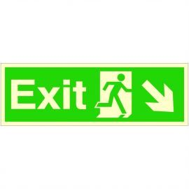 Exit Arrow Down Right Glow In Dark Sign