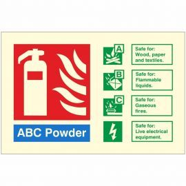 Glow In The Dark ABC Powder Fire Extinguisher Identification