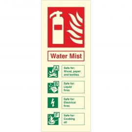 Photoluminescent Water Mist Fire Extinguisher ID Sign
