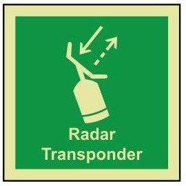 Radar transponder photoluminescent 100W  x  110H  sign self adhesive