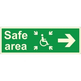Glow In The Dark Safe Area Arrow Right Sign