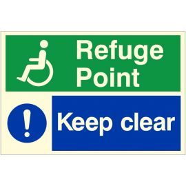 Glow In The Dark Keep Clear Refuge Point Sign