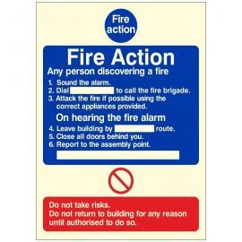 Glow In The Dark 6 Point Fire Action Notice Sign - Any Person Discovering a Fire