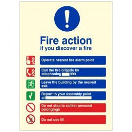 Glow In The Dark Fire Action Notice Sign - If You Discover A Fire