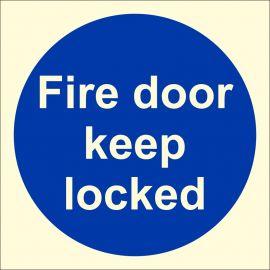 Glow In The Dark Fire Door Keep Locked Door Sign