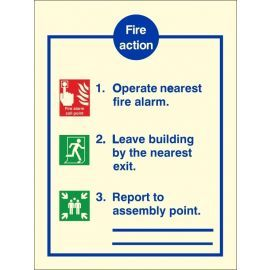 Glow In The Dark 3 Point Fire Action Notice Sign With Lines To Write Assembly Point Location