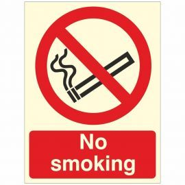 Glow In Dark No Smoking Sign