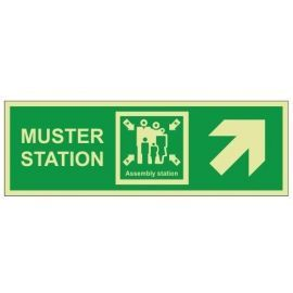 Muster Station Assembly Station Arrow Up Right Sign - Rigid Plastic