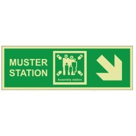Muster station arrow down right 400W  x150H   self adhesive sign
