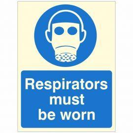 Respiratiors Must Be Worn Glow In Dark Sign
