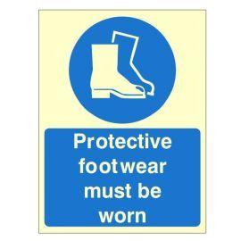 Glow In Dark Protective Footwear Must Be Worn Sign