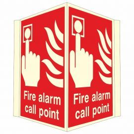 Fire Alarm Call Point Projecting Glow In Dark Sign - 400W x 300H