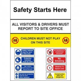 Safety Starts Here Multi Message Safety Board