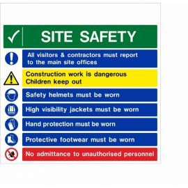 All Visitors & Contractors Must Report To The Main Site Offices Multi Message Safety Board