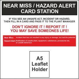 Near Miss Hazard Alert Card Station 600W X 600H Wall Mounted Composite Board