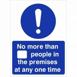 No More Than XX People In The Premises At Any One Time Sign (Writable)