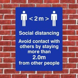Avoid Contact With Others By Staying More Than 2.0m From Other People Sign