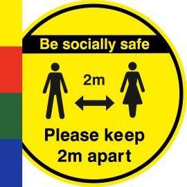 Be Socially Safe Keep 2m Apart Floor Sticker