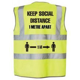 Keep Social Distance 1 Metre Apart Hi Viz Vest