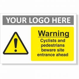 Warning Cyclists And Pedestrians Beware Site Entrance Ahead Sign