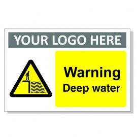 Warning Deep Water Custom Logo Warning Sign