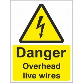 Danger Overhead Live Wires Safety Sign