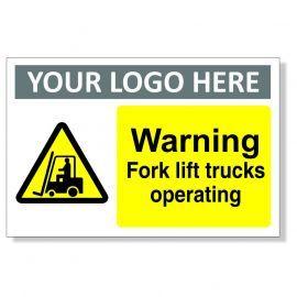 Warning Fork Lift Trucks Operating Custom Warning Sign