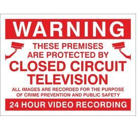 Warning Premises Are Protected By 24 Hour Video Recording CCTV Sign